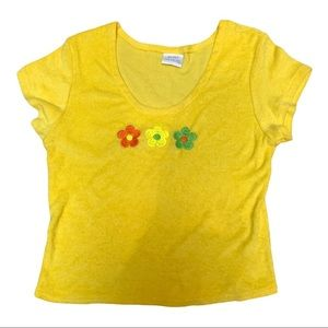 Vintage yellow terry cloth flower power top